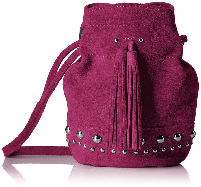 The Fix Kirby Mini Studded Suede Bucket Crossbody Bag