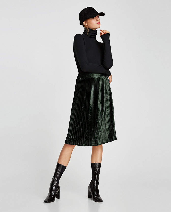 Zara Pleated Velvet Skirt