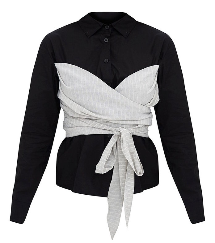 <p>PrettyLittleThing's Bow-Wrapped Shirt</p>