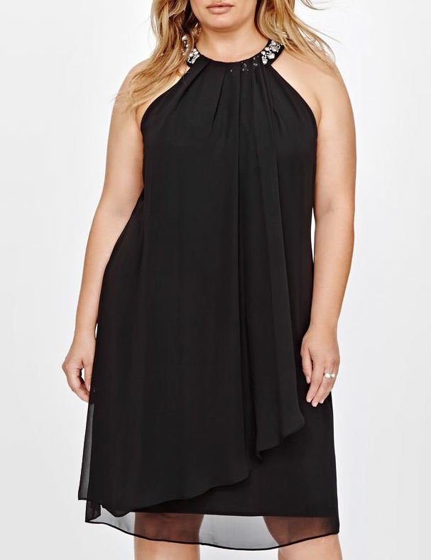<h1>Flowy Chiffon Dress With Beaded Neckline by Addition Elle</h1>