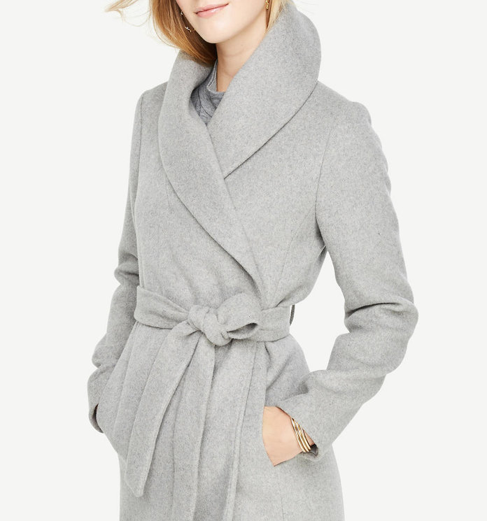 <p>Shawl Collar Wrap Coat</p>