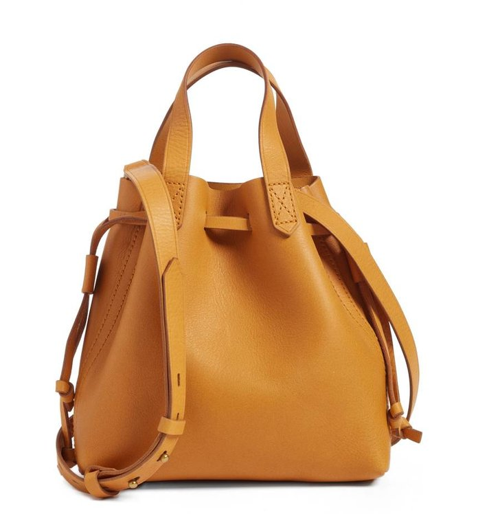 be74e8ea95 Best Pop of Color  Madewell Leather Drawstring Tote