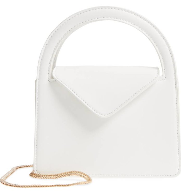 Envelope Flap Faux Leather Satchel