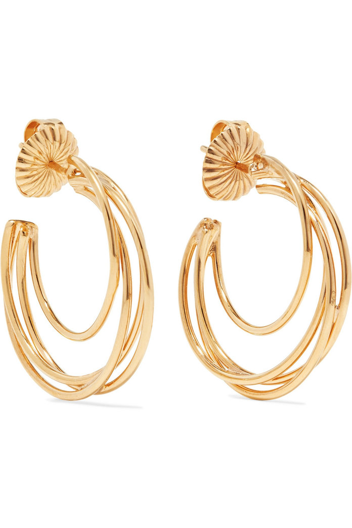 Lindsey 14-karat gold-plated hoop earrings