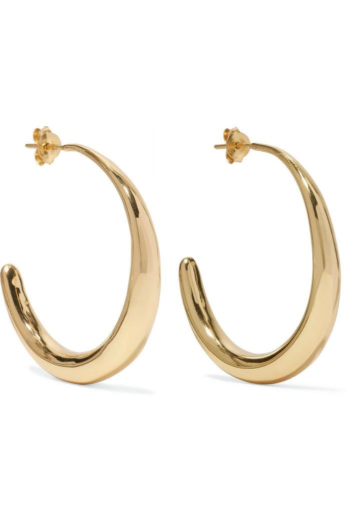 Louise Olsen Large Liquid gold-plated hoop earrings