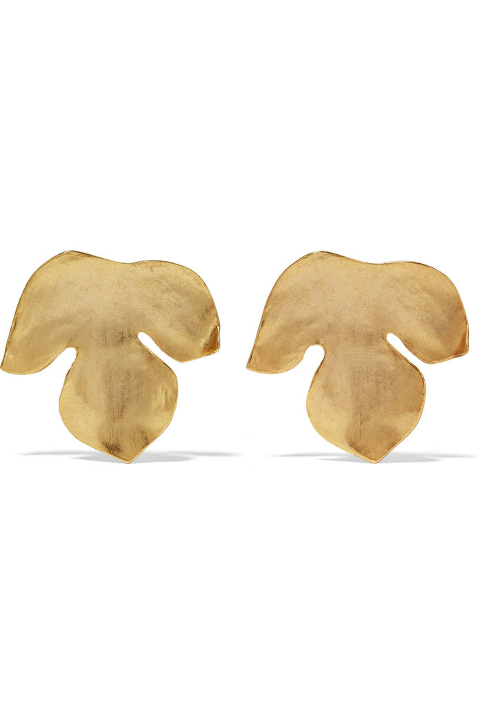 Foliage gold-plated clip earrings