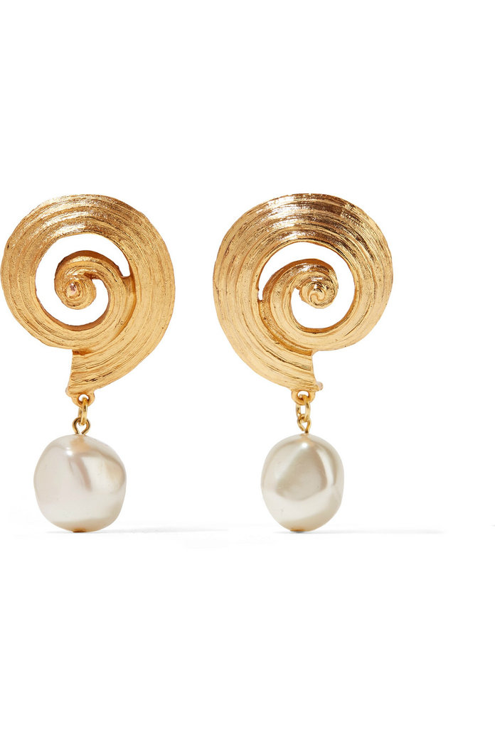 Gold-plated faux pearl clip earrings