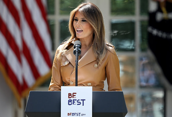 First Lady Melania Trump Speaks On The Launch Of Her Initiatives In The Rose Garden Of White House