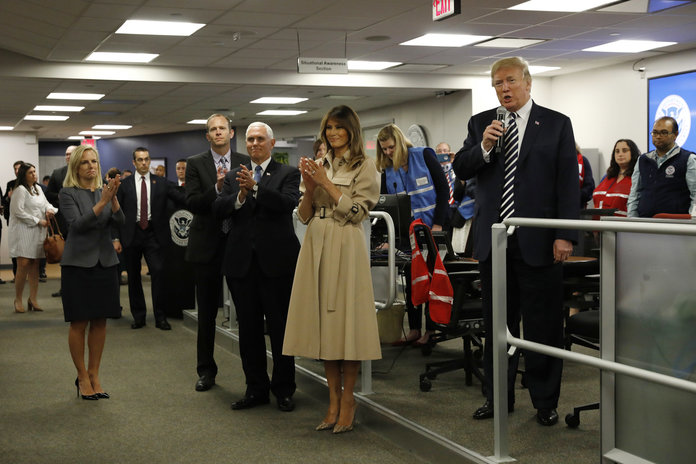 President Trump and First Lady Melania Trump Attend Hurricane Briefing at FEMA