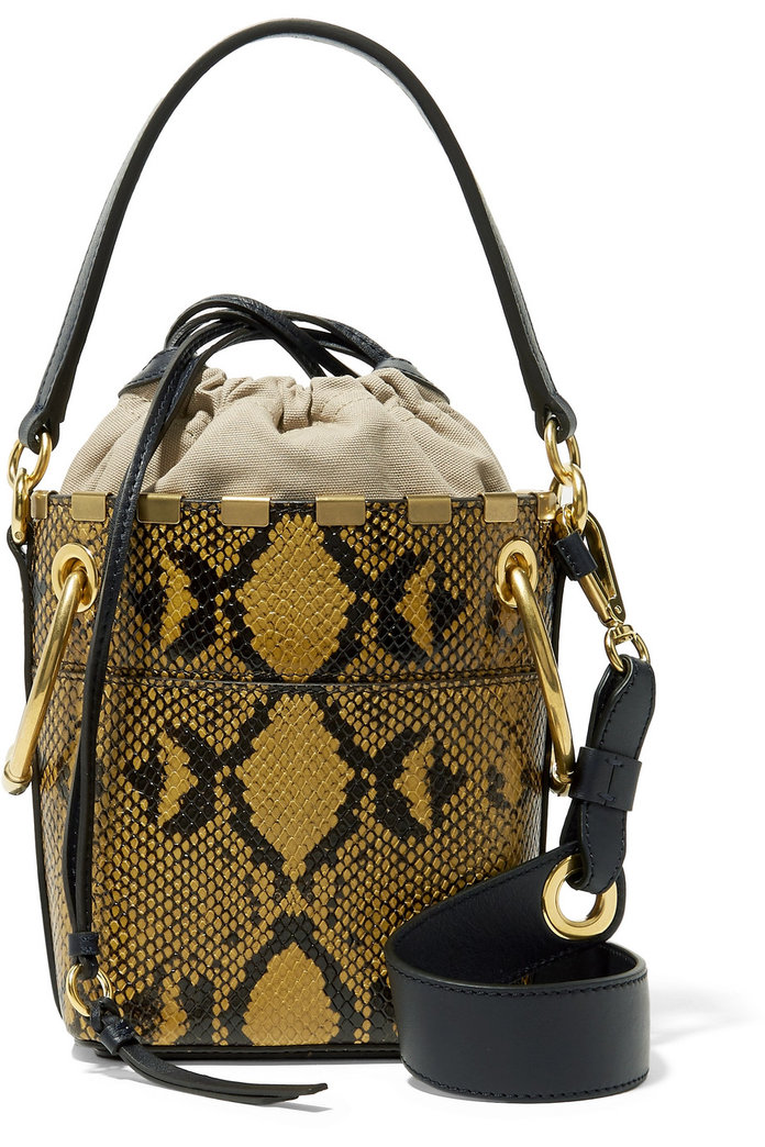 cb536f44005b Best Snake Print Bag  Chloe Roy Snake-Effect Bucket Bag