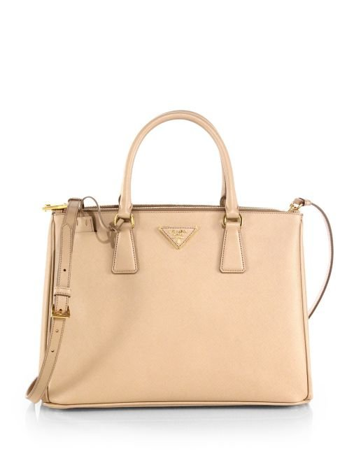 Saffiano Lux Medium Double-Zip Tote Bag