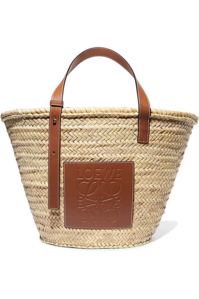 Loewe Larget Leather-Trimmed Tote