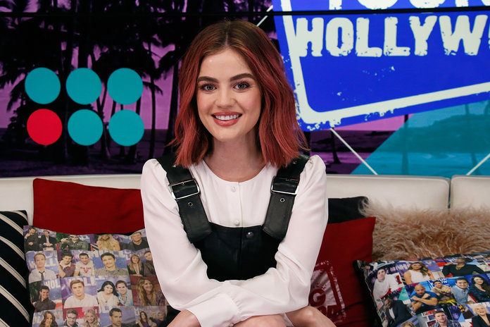 Lucy Hale And Tyler Posey Visit Young Hollywood Studio