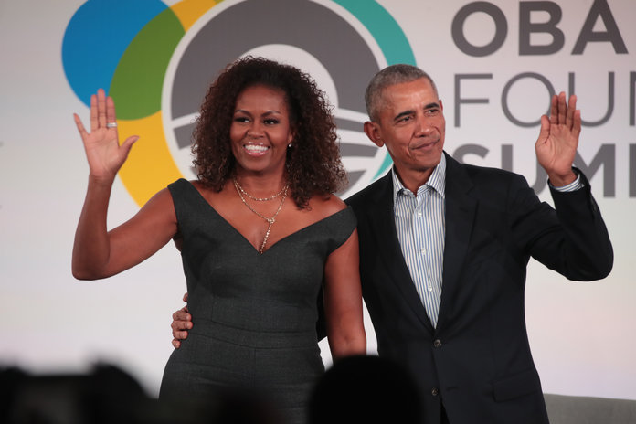 Michelle Obama's Neon Bustier-Style Gown Shines with the Light of a Thousand Suns