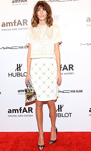 Alexa Chung works Brit styling at the AmfAR Benefit Gala in NYC