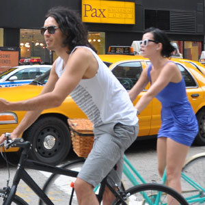 Russell and Katy love to ride their bicycles