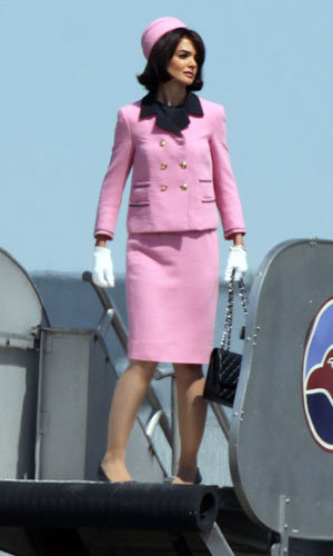 SEE PICS: Katie Holmes pretty in pink as Jackie Kennedy!
