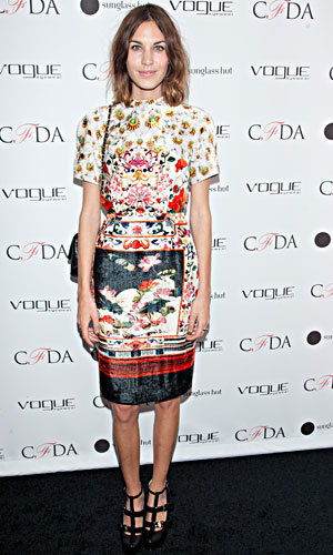 Alexa Chung is pretty in prints at Vogue Eyewear party