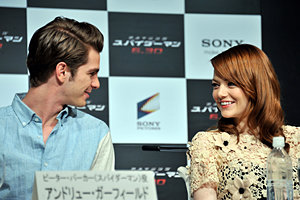 Emma Stone and Andrew Garfield loved up as they promote The Amazing Spider-Man!