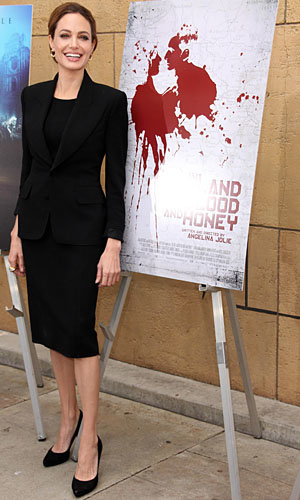 Angelina Jolie does workwear chic to promote her movie In The Land Of Blood And Honey!