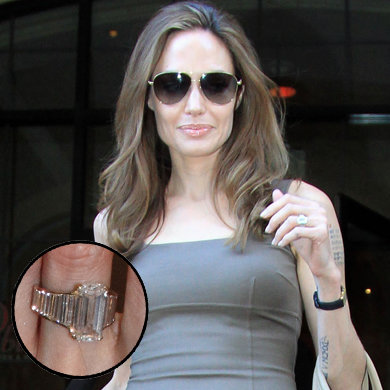 Angelina steps out with her engagement ring!