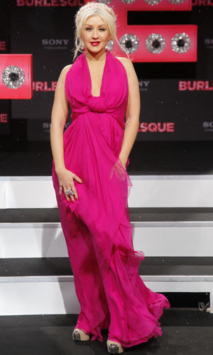 Christina Aguilera and Kristen Bell go for brights at Burlesque premiere