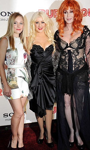 Cher and Christina Aguilera brave the cold to sizzle at the UK premiere of Burlesque