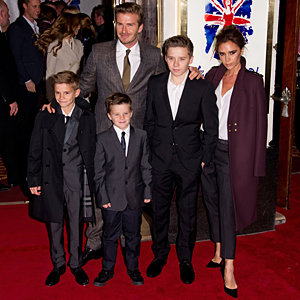 The Beckham family support Victoria and the Spice Girls at Viva Forever launch