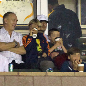 SEE PICS: David Beckham takes the boys to the football in LA