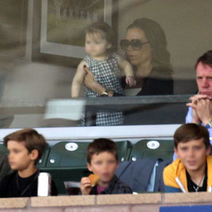 BECKHAM WATCH: The Beckham family watch David Beckham at the football!