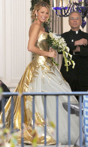 Blake Lively marries in gold lame Georges Chakra