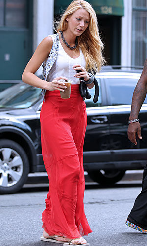 Blake Lively works a bright a maxi on the Gossip Girl set