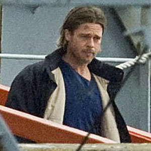 Brad Pitt spotted on set while Angelina Jolie's out with the kids in Richmond