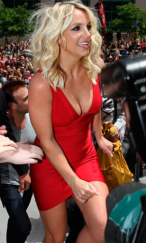 Britney Spears works red bandage dress at X Factor auditions!