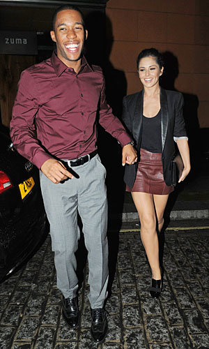 Cheryl Cole matches her beau in burgundy!