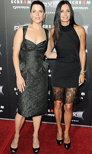 Courteney Cox and Neve Campbell are reunited on the red carpet for the  premiere of Scream 4