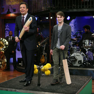 SEE PICTURES: Daniel Radcliffe plays cricket on Late Night!