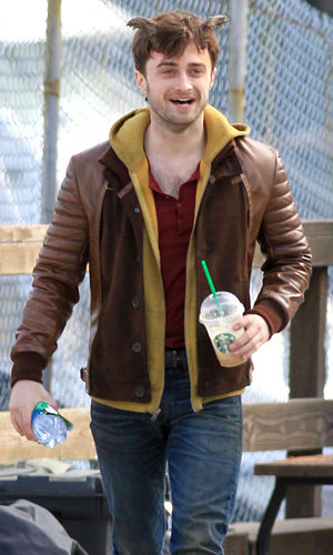 SEE PIC: Daniel Radcliffe adopts horns on set!