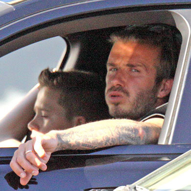 David Beckham and Brookyln go cruising in LA