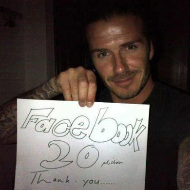 David Beckham hits 20 million likes on Facebook