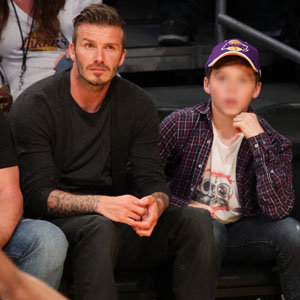 BECKHAM PICTURES: David and Brooklyn at the basketball!