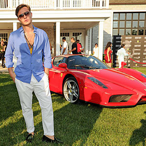 Ed Westwick bares his chest at Hamptons Rally with Ferrari!