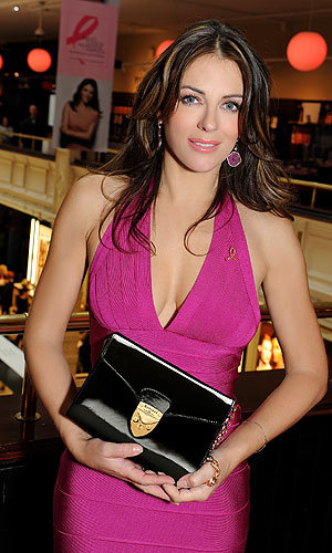 Liz Hurley supports Breast Cancer Awareness month at Harrods' pink event!