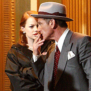 SEE PICS: Emma Stone and Sean Penn on the set of Gangster Squad