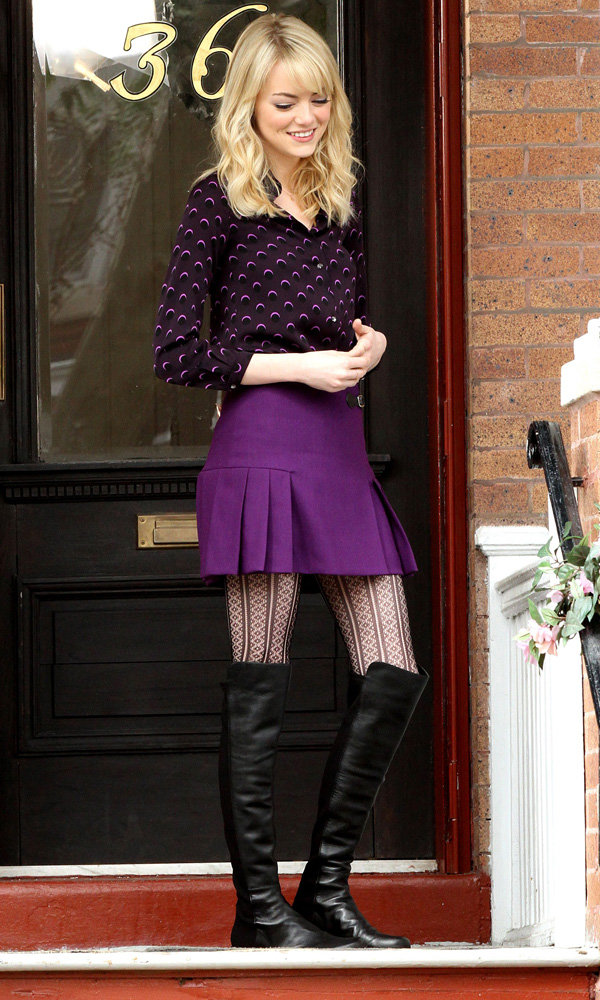 Emma Stone hits the set of The Amazing Spider-Man 2