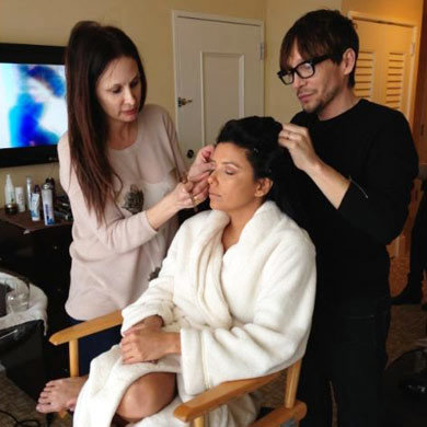 Eva Longoria and Nicole Richie get ready for the Golden Globes 2013