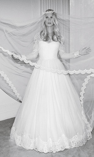 Poppy Delevigne models Alberta Ferretti wedding dresses