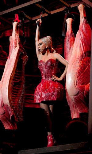 Lady Gaga wears a meat dress… AGAIN!