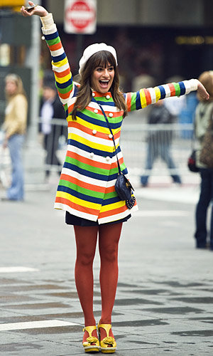 Lea Michele and the Glee cast stop traffic while filming in New York City!