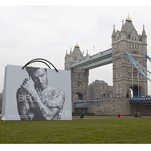 SEE PICS: Giant David Beckham for H&M bags dropped around London!